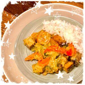 Veganes Thai Curry Gemüse mit Räuchertofu Rezept