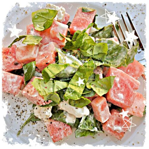 Melonensalat mit Ziegenfrischkäse Rezept