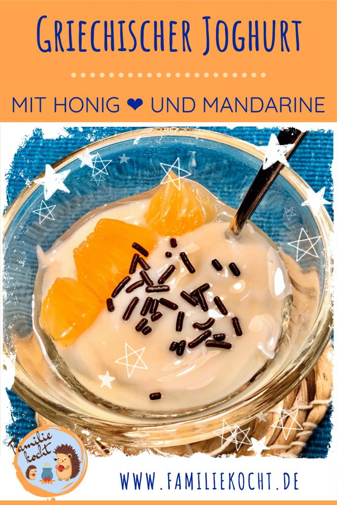 Griechischer Joghurt mit Honig und Mandarine Pin