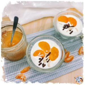 Griechischer Nachtisch Griechischer Joghurt mit Honig und Mandarine