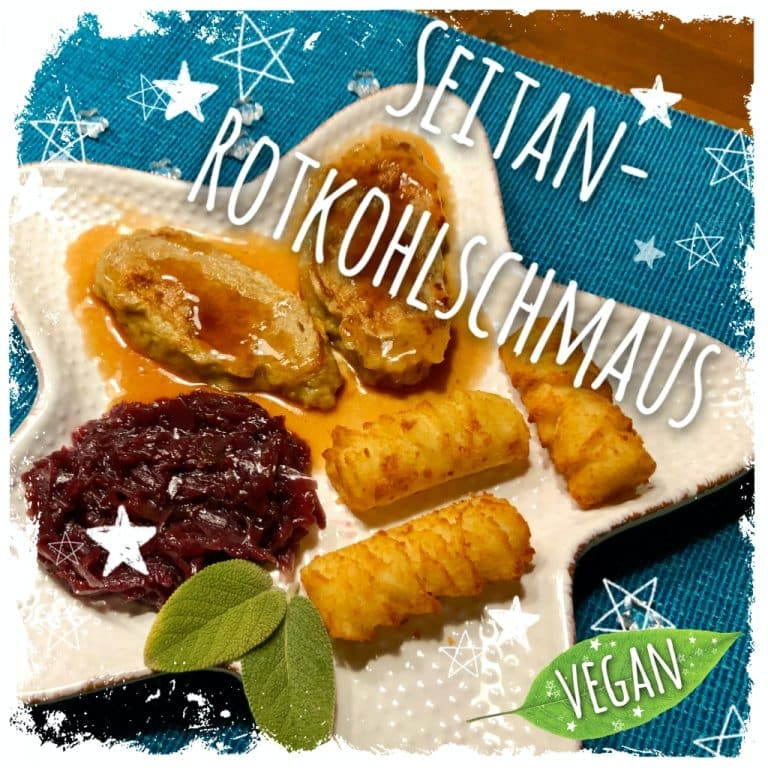 Veganer Seitan-Rotkohlschmaus