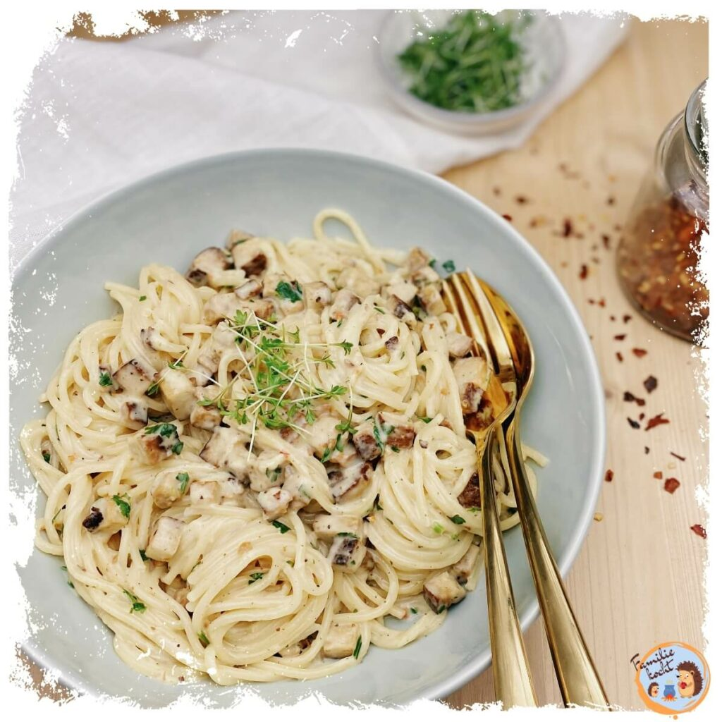 Vegetarische Carbonara (Spaghetti Räuchertofu Carbonara)