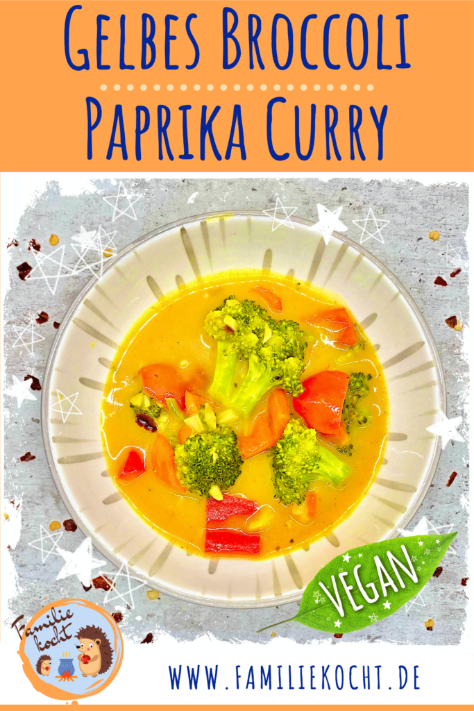 Gelbes Broccoli Paprika Curry vegan Pin