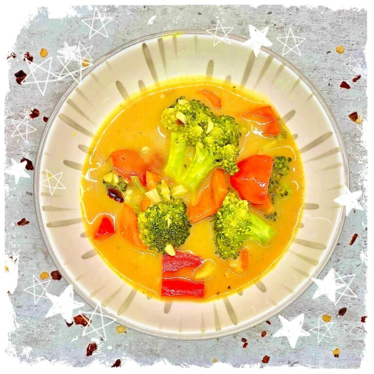 Gelbes Broccoli Paprika Curry vegan Rezept
