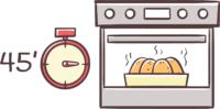 45 Minuten im Ofen backen