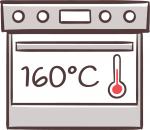 Backofen auf 160 Grad vorheizen