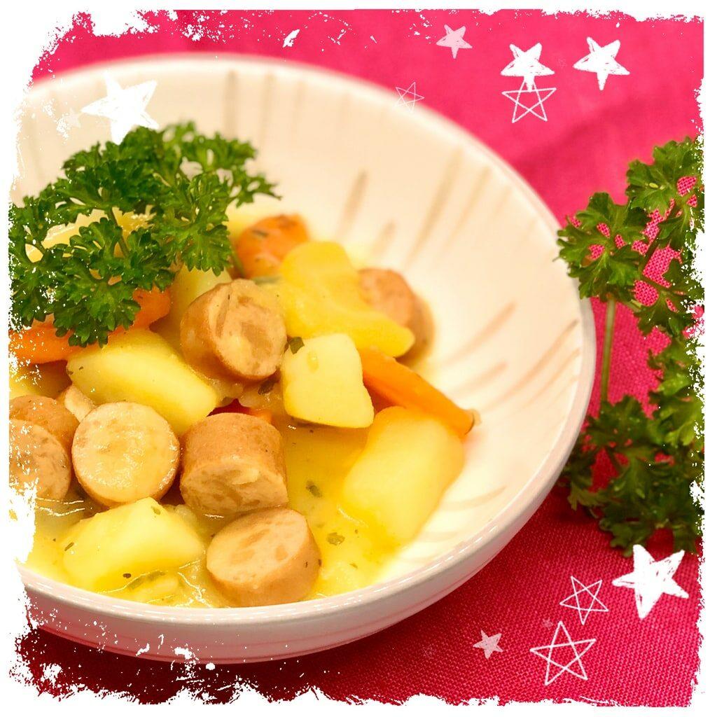 Kartoffelsuppe mit vegetarischen Würstchen Rezept