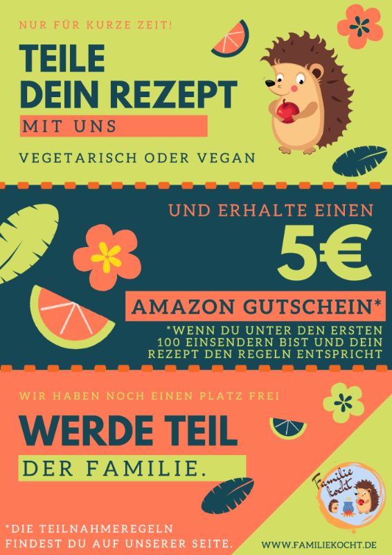 Teile dein Rezept mit uns - 5€ Amazon