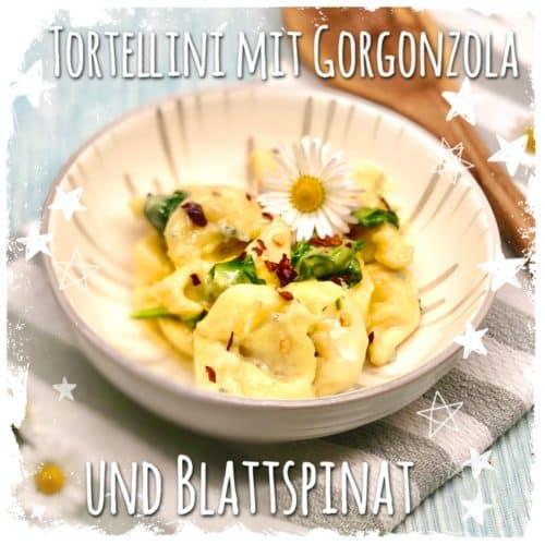 Tortellini mit Gorgonzola und Blattspinat