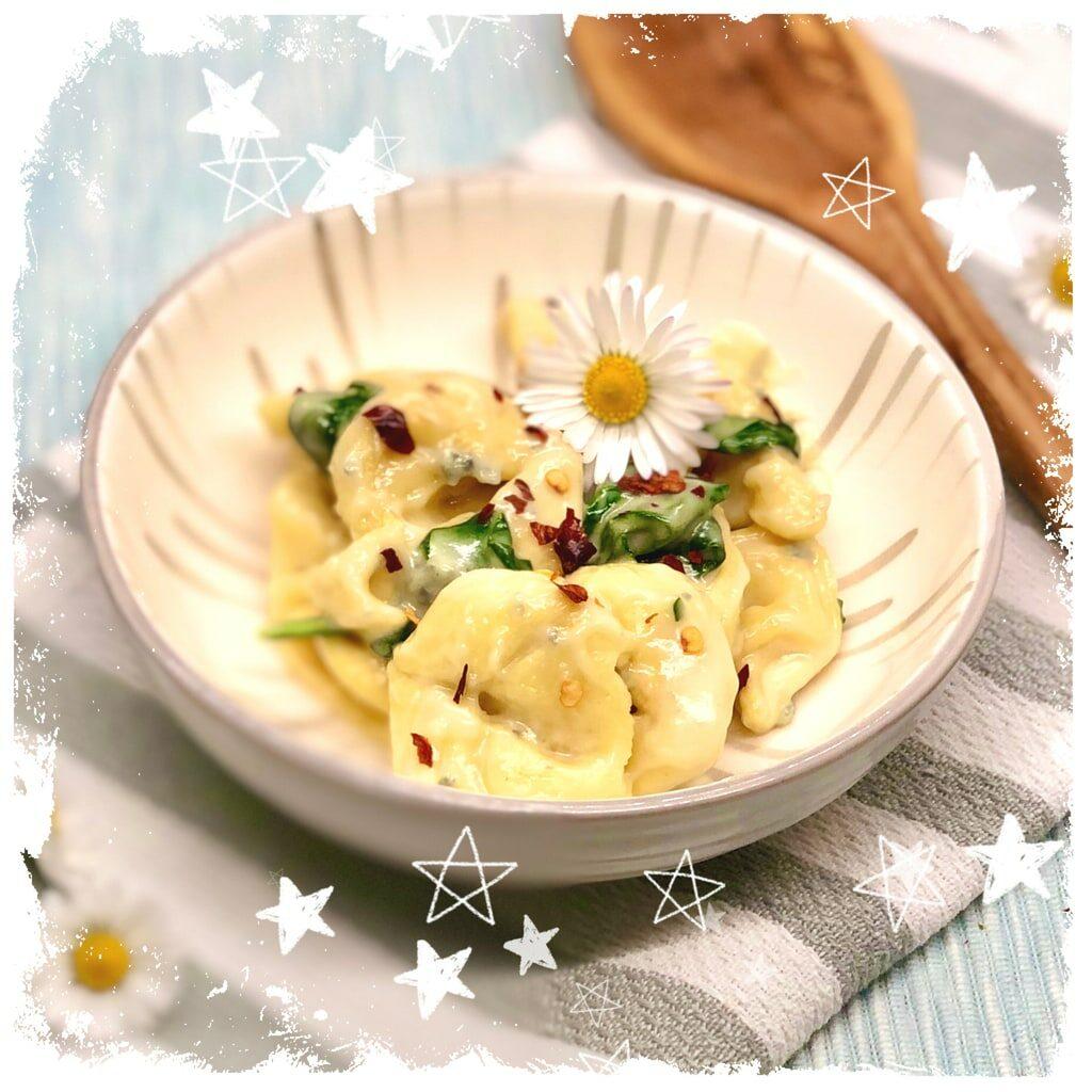 Tortellini mit Gorgonzola und Blattspinat Rezept