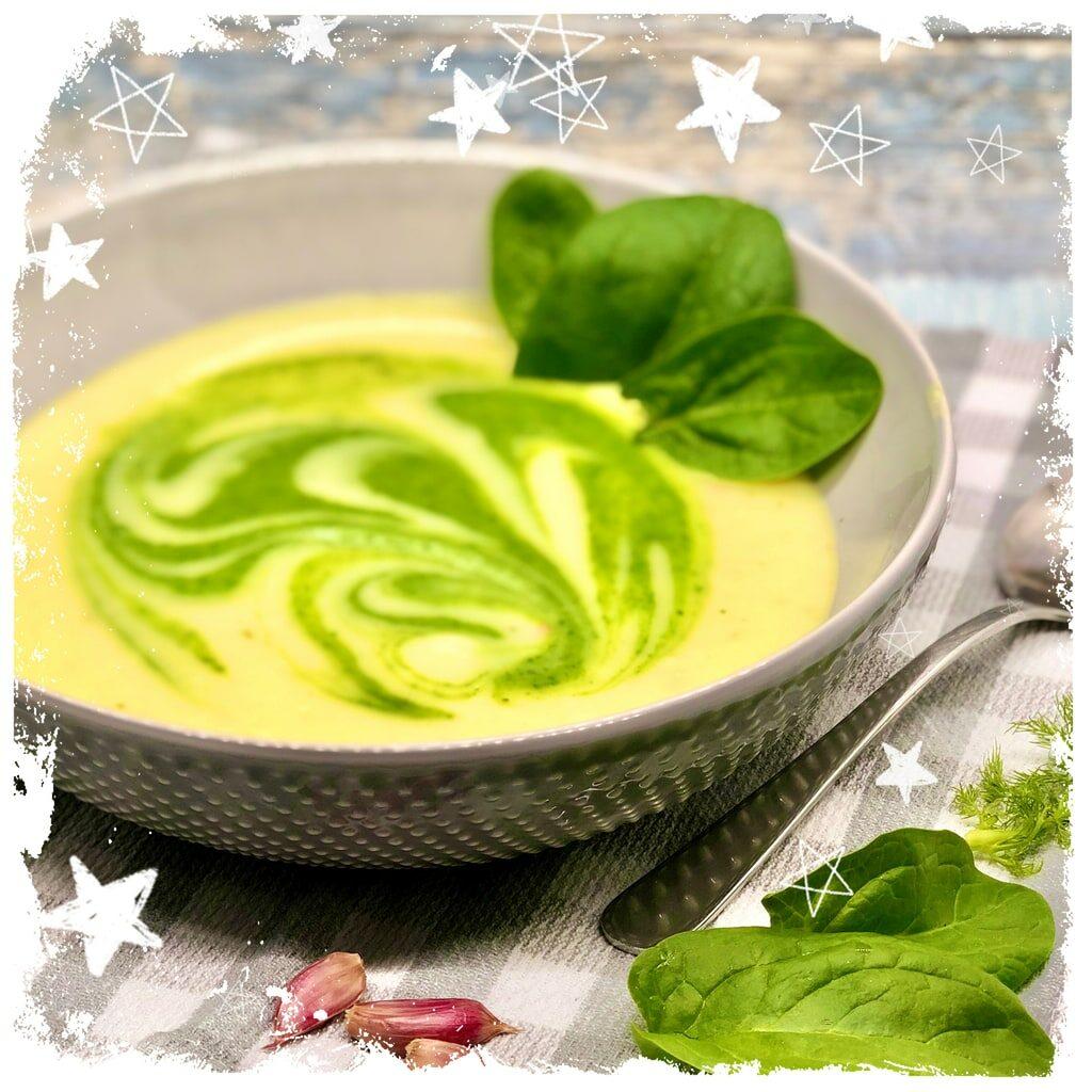 Vegane Kartoffel Fenchel Suppe mit Babyspinat Rezept