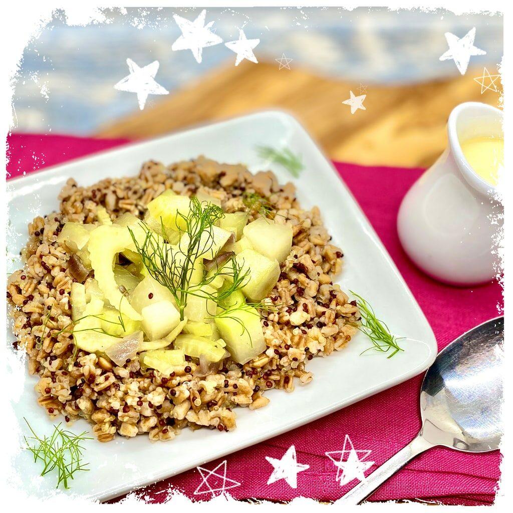 Kohlrabi Fenchel Gemüse mit Quinoa und Dinkel Rezept