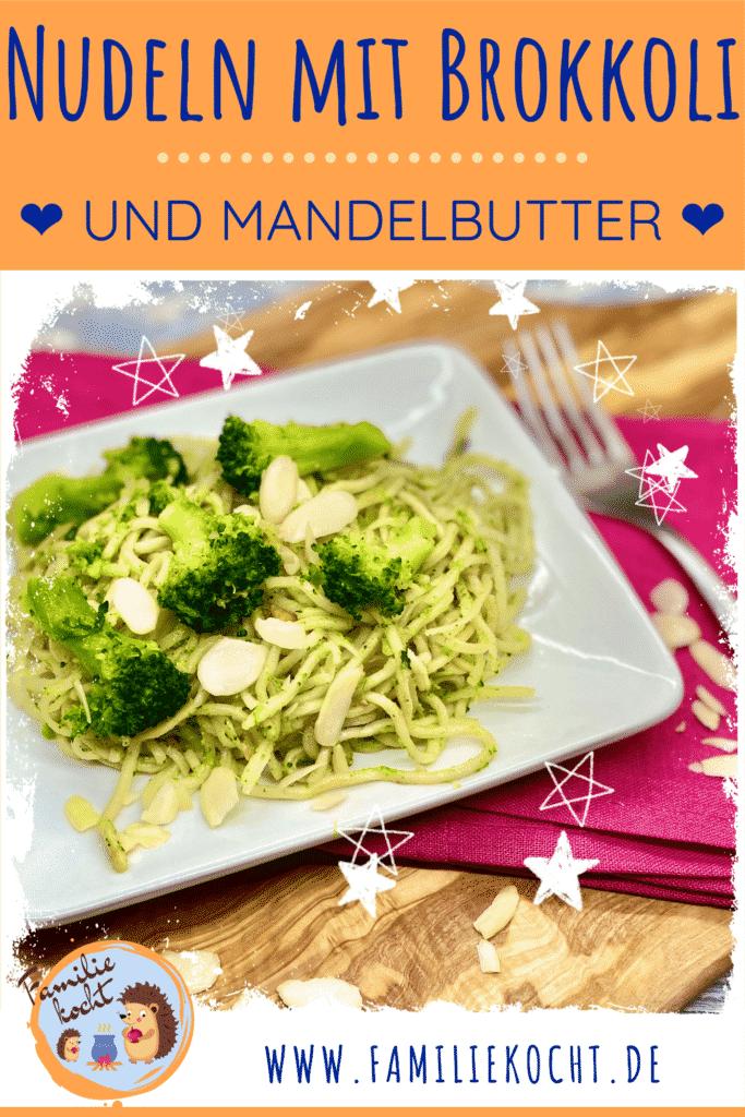 Nudeln mit Brokkoli und Mandelbutter Pin