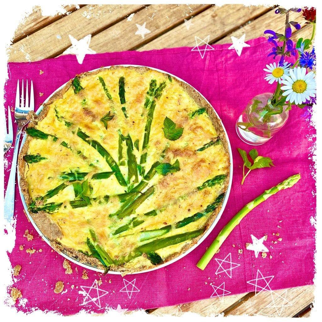 Spargel Quiche mit Käse Sahnesoße Rezept