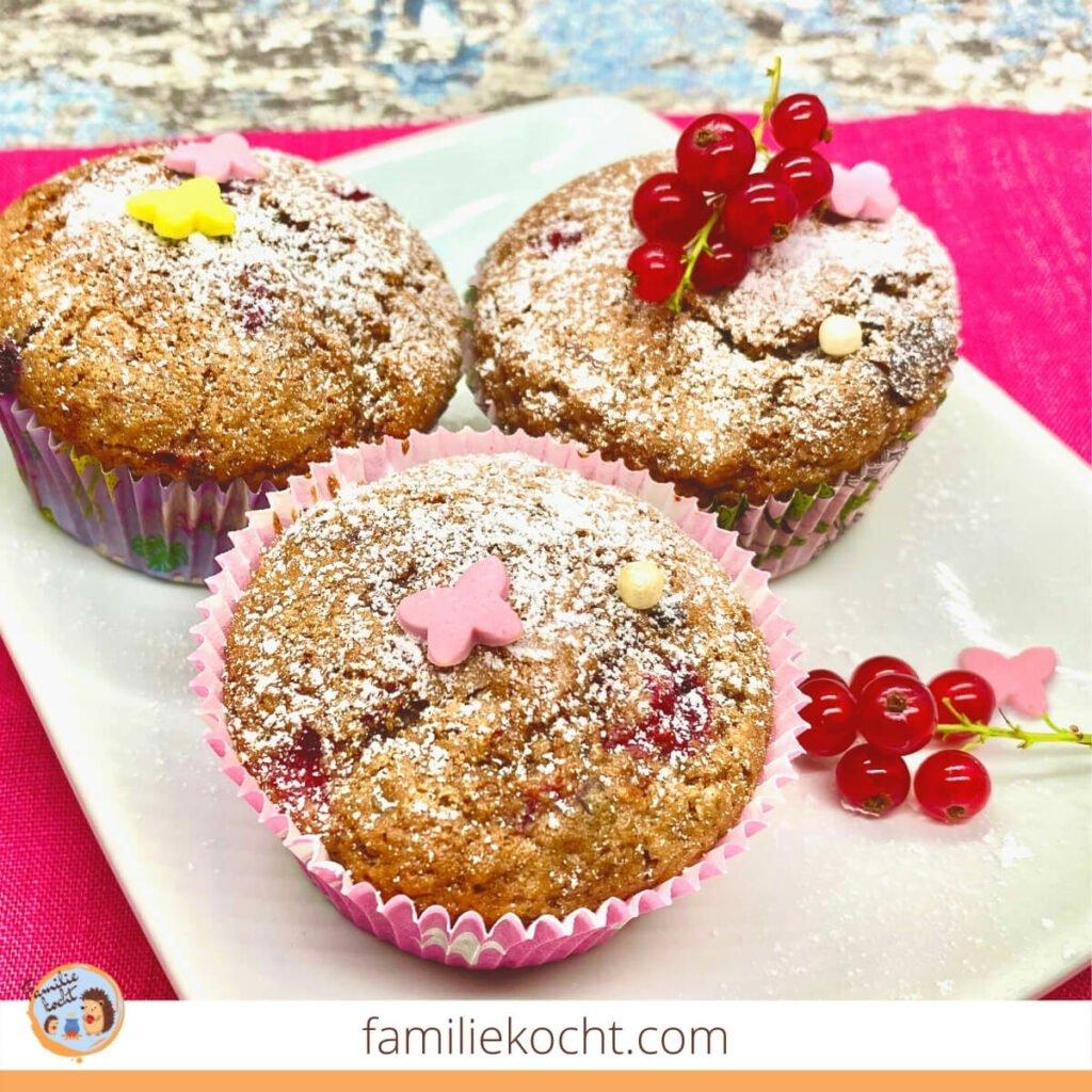 Fluffige Johannisbeer Schoko Muffins