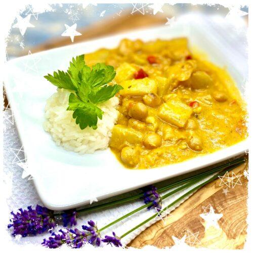 Kohlrabi Kichererbsen Korma Curry Rezept