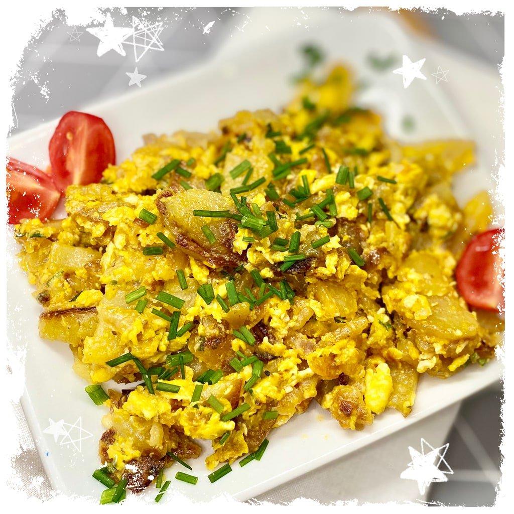 Bauernfrühstück Bratkartoffeln mit Ei Rezept