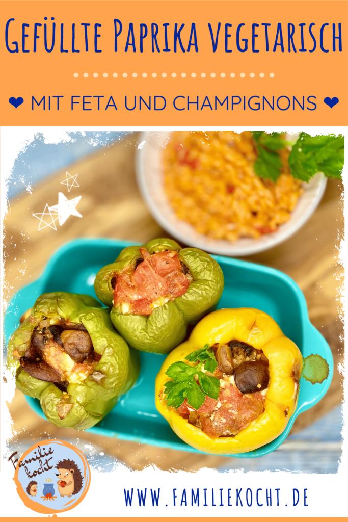 Gefüllte Paprika vegetarisch mit Feta und Champignons Pin