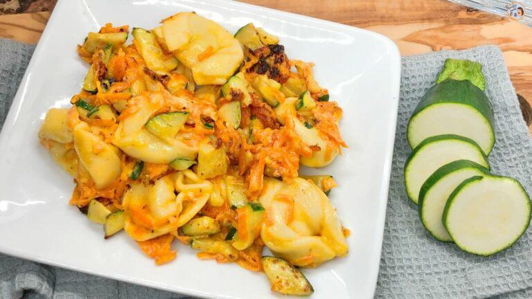 Käsetortelloni mit Möhren und Zucchini