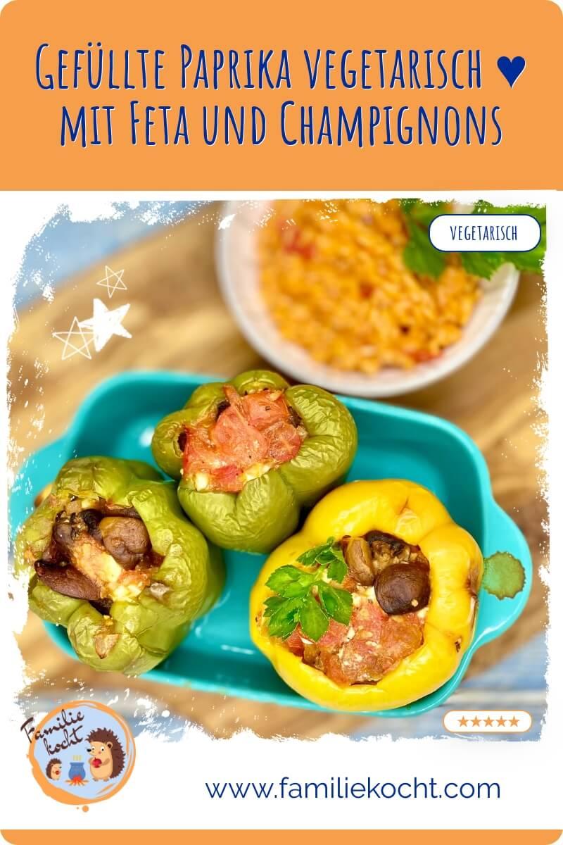 Gefüllte Paprika vegetarisch mit Feta und Champignons Rezept
