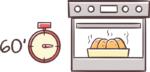 60 Minuten im Ofen backen