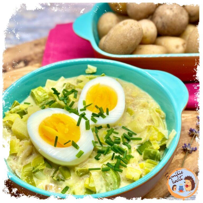 Lauchgemüse mit Pellkartoffeln und Ei