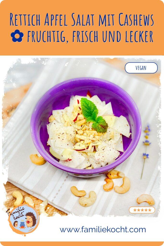Rettich Apfel Salat mit Cashews Rezept