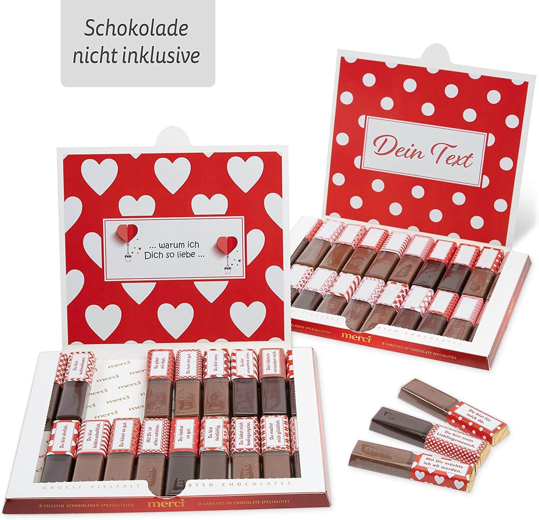 Netti Li Jae ® Aufkleber Set für Merci Schokolade für 2 persönliche Geschenke: Das persönliche Dankeschön und kreative Geschenkidee (Liebe)