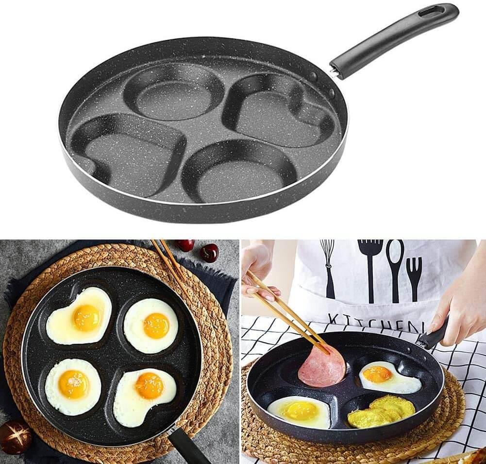 Bratpfanne 28cm, Spiegelei-Pfanne für 4 Eier, Herzform, Pfanne für Eierkuchen Eierfladen Palatschinken, Antihaftbeschichtete