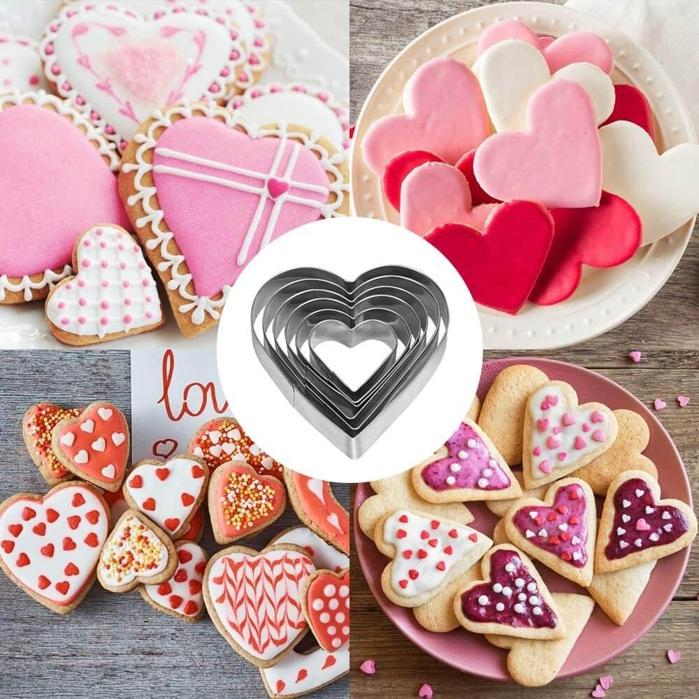 Bluelves Ausstecher Ausstechformen Set, Ausstechform Herzen, Cookie Cutter Herz, Herz Edelstahl Ausstechformen für Tortendeko, Kekse