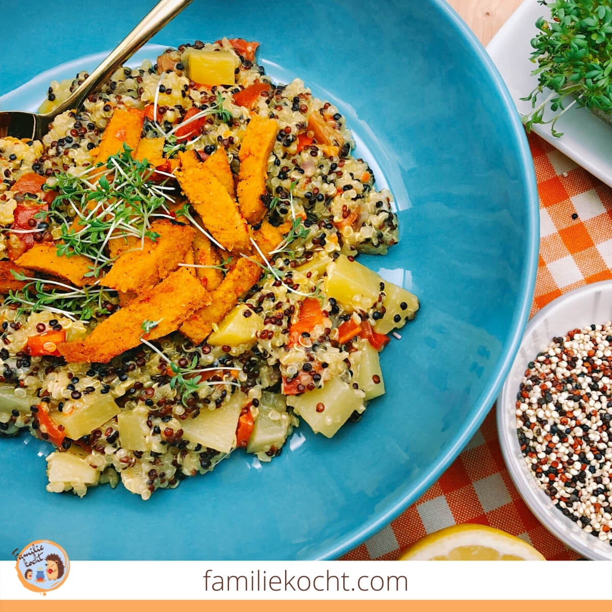 Quinoa Pfanne mit Veggie Bratstreifen